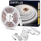 MYPLUS White LED Strips Light, Dimmable LED Vanity Mirror Lights Daylight White,700 Lumen,300 LEDs,12V Flexible Tape Light with UL Listed Safety Power Supply for Vanity Mirror,Bedroom,Kitchen