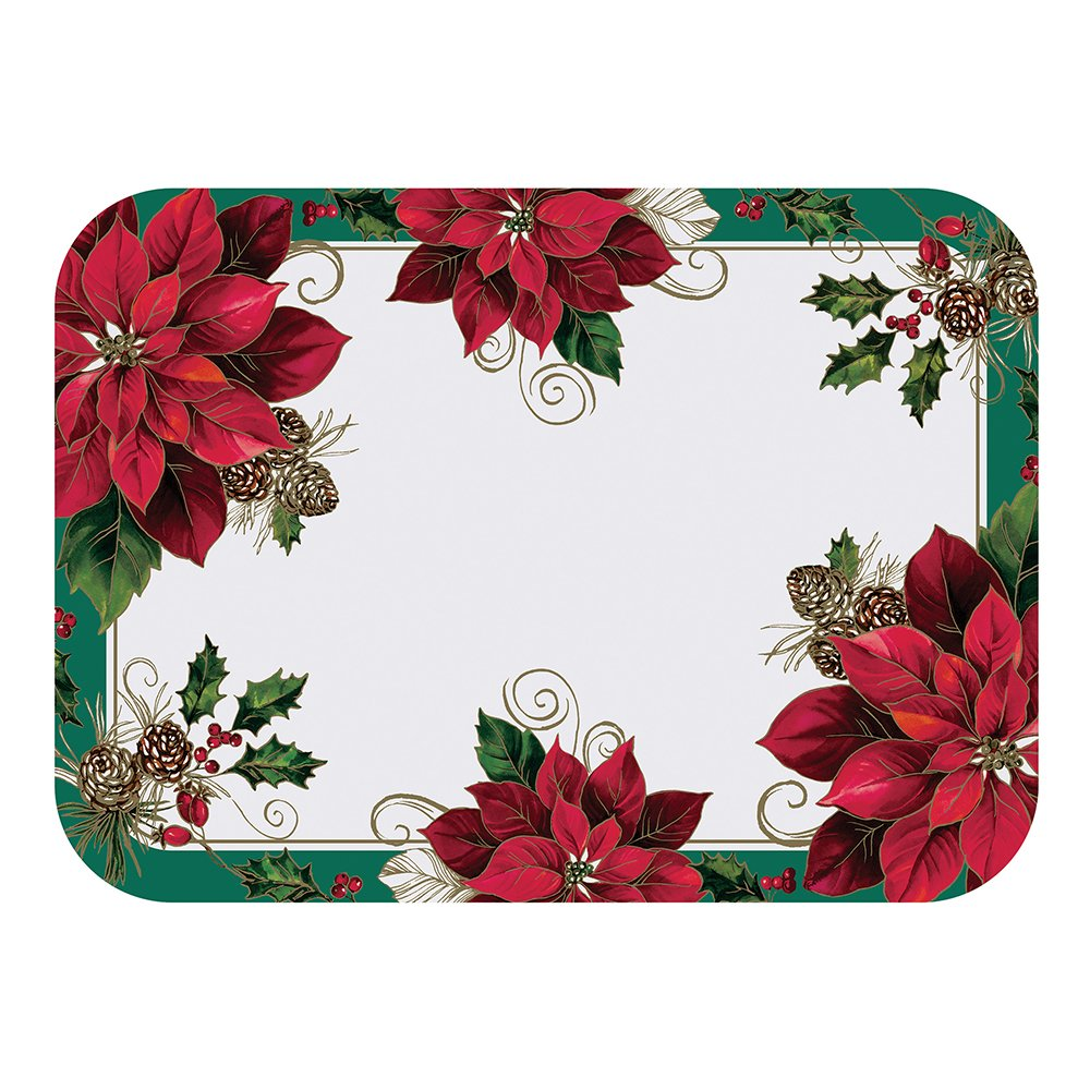 Hoffmaster 832799 Traditional Poinsettia Paper Tray mat, 13-5/8'' x 18-3/4'', fits 15'' x 20'' Tray, Disposable (Pack of 1000)