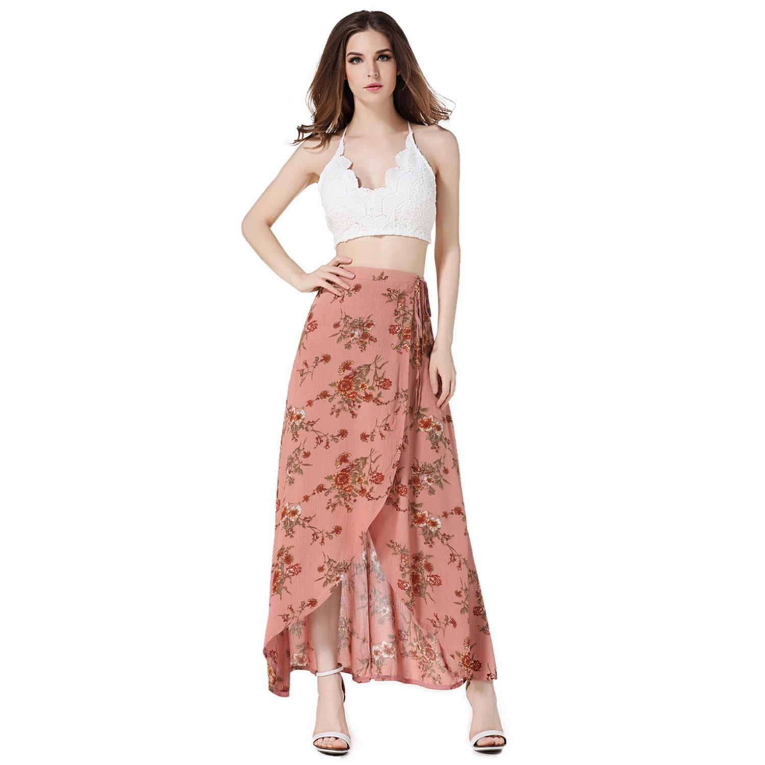 Pink Glugerge Lace up Waist Ties High Waist Bohemian Skirts Sexy High Slit Irregular High Low Flower Print