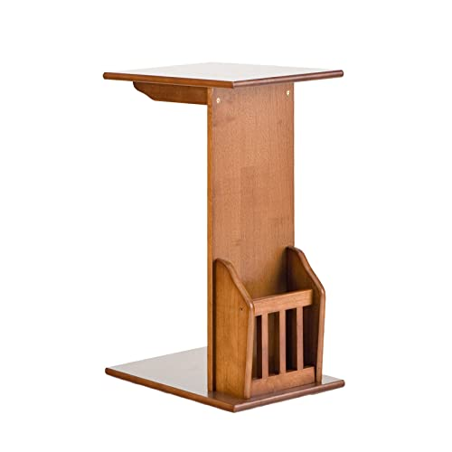 Magazine Holder Snack Table – Slides Under Couch Design – Wood Frame w Oak Finish