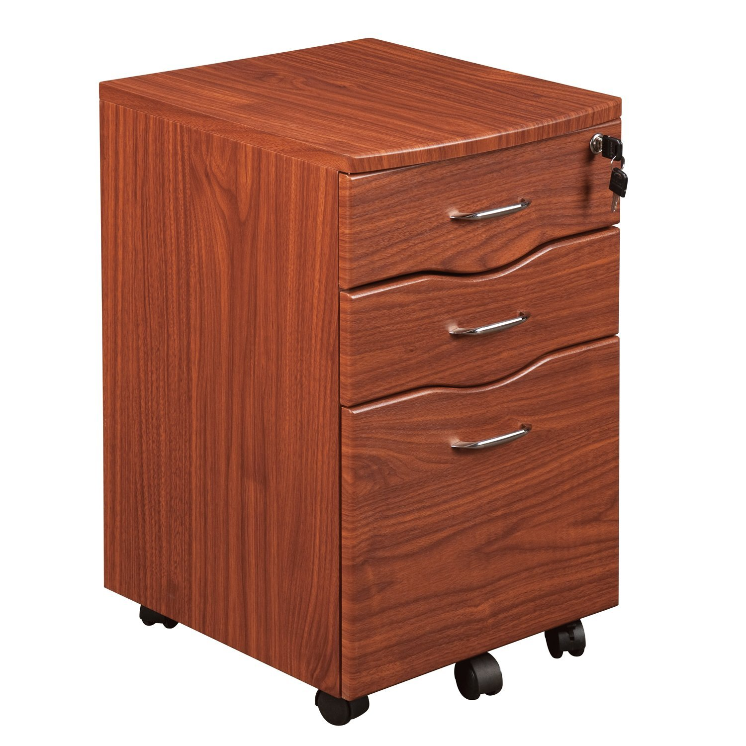 Techni Mobili Rolling Storage and File Cabinet, Mahogany by Techni Mobili
