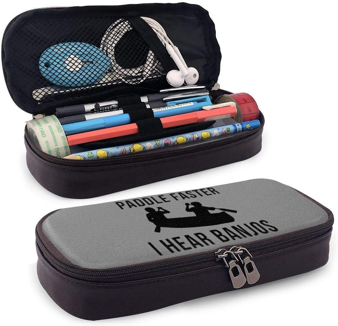 Paddle Faster Oigo Banjos Funda de lápiz de cuero Bolsa de cosméticos portátil de viaje para collage de secundaria