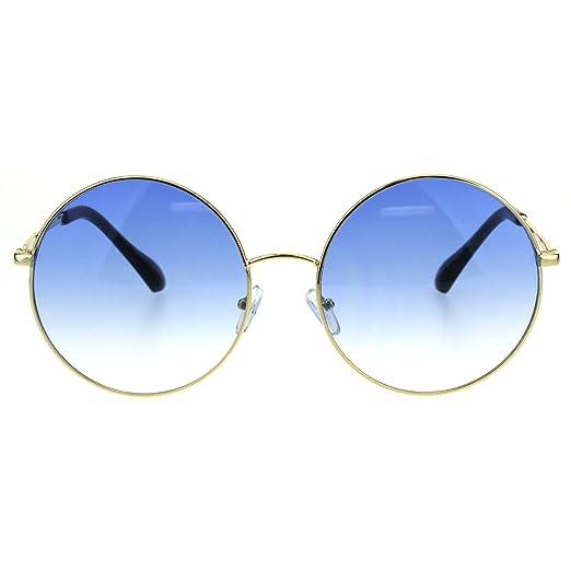 e86cda4cc0 Classic Oversize Joplin Style Hippie Round Circle Lens Sunglasses (Gold Blue