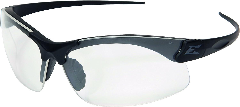 Edge Eyewear Sharp Edge Thin Temple Glasses, Matte Black Frame/Clear Vapor Shield Lens