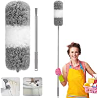 Feather Duster, Necomi Improved Long Pole Duster (30 to100 inches), Microfiber Bendable Head & Scratch-Resistant Hat for…