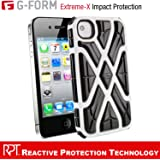 G-Form EXTREME-X Ruggedized Protective Case for Apple iPhone 4 & 4s [White Case - Black RPT]