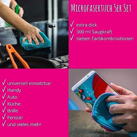 Kochblume Microfasertuch Set 10 Teilig Premium Microfaser Set In Der Pinken Box Türkis Pink Drogerie Körperpflege