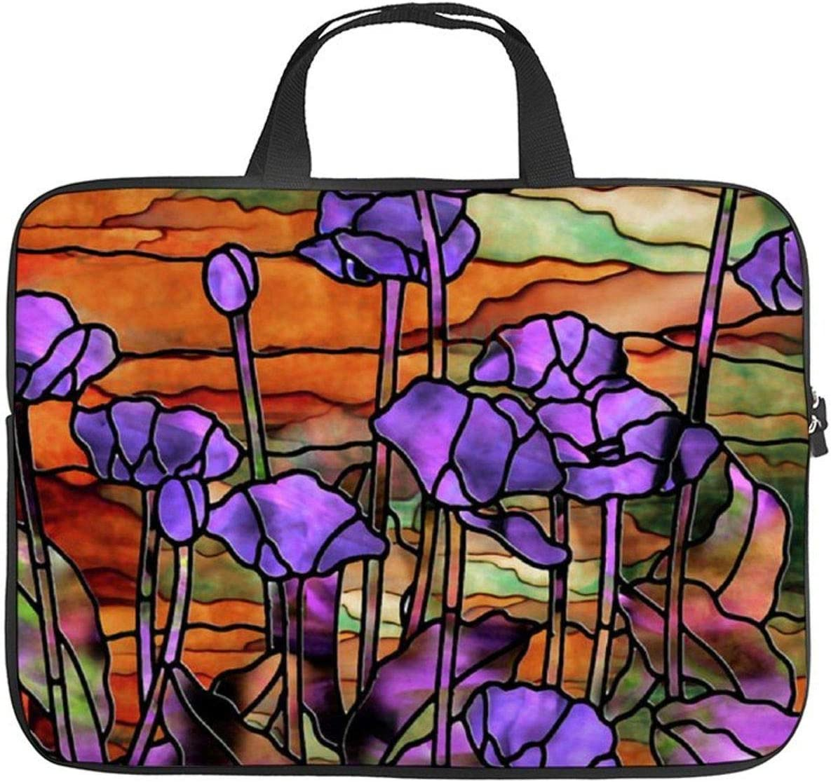 """Neoprene Sleeve Laptop Handbag Case Cover Stained Glass Poppies 10 Inch Laptop Sleeve Case for 9.7"""" 10.5"""" Ipad Pro Air/ 10"""" Microsoft Surface Go/ 10.5"""" Samsung Galaxy Tab"""
