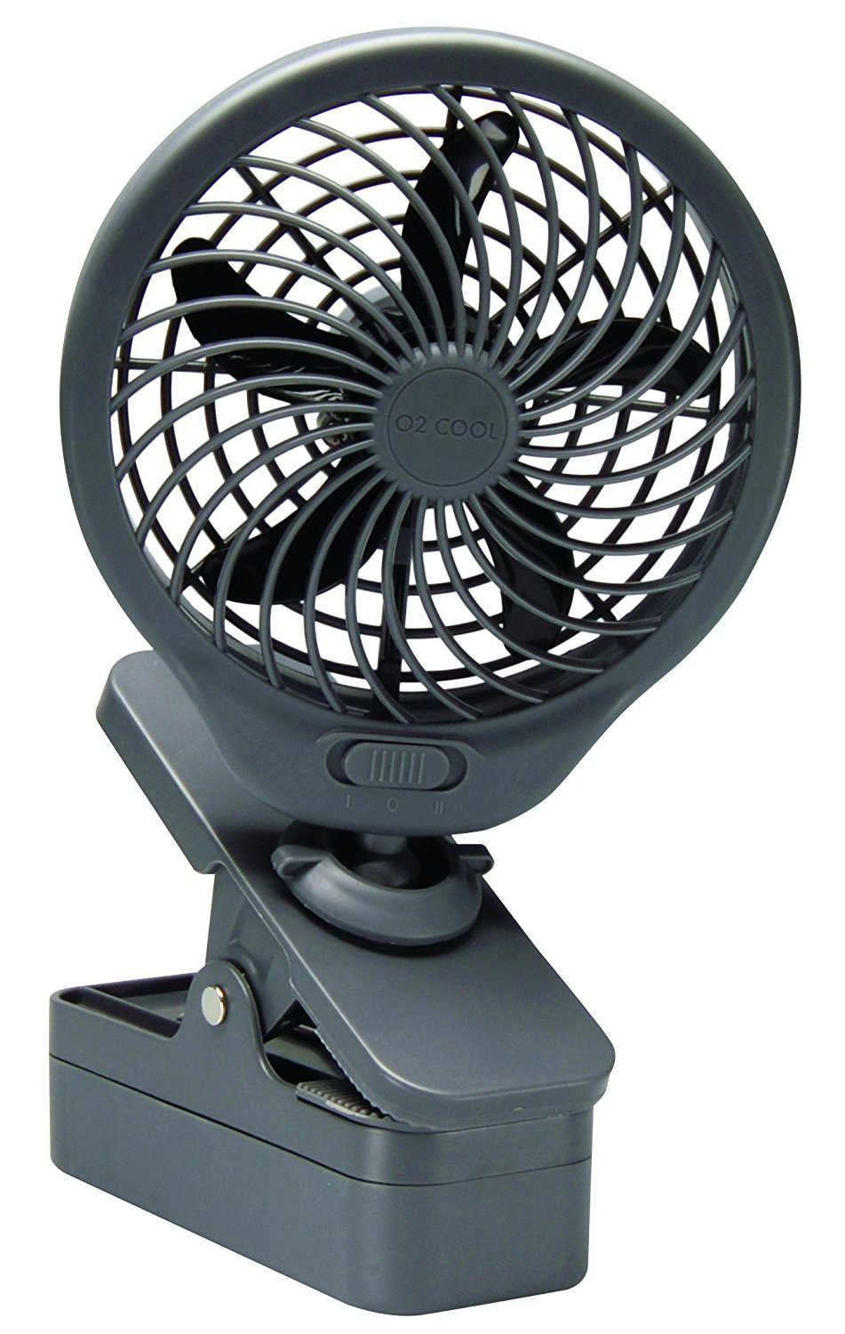 O2COOL 5'' Battery Operated Clip Fan Grey