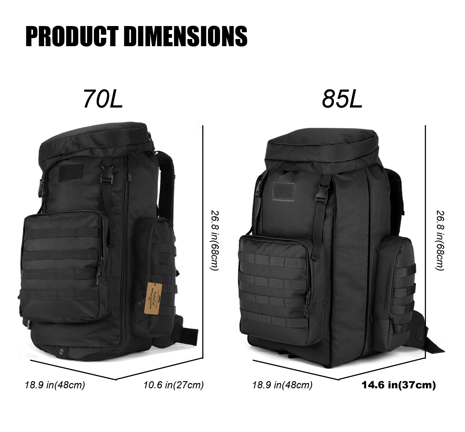 ArcEnCiel 70-85L Large Capacity Tactical Travel Backpack MOLLE Rucksack Outdoor Travel Bag for Travelling Trekking Camping Hiking Hunting -Rain Cover Included (Black) by ArcEnCiel (Image #4)