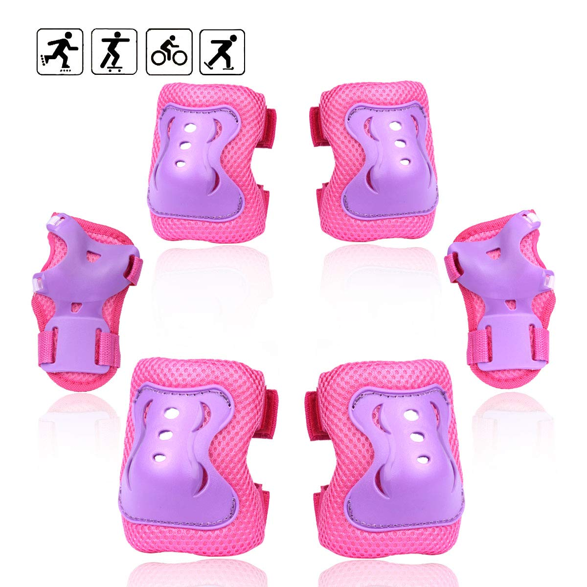 eNilecor Kid\'s Inline Skating Roller Blading Wrist Elbow Knee Pads Blades Guard Gift for Children\'s Day, Christmas Pack of 6 (Purple/Pink, S)