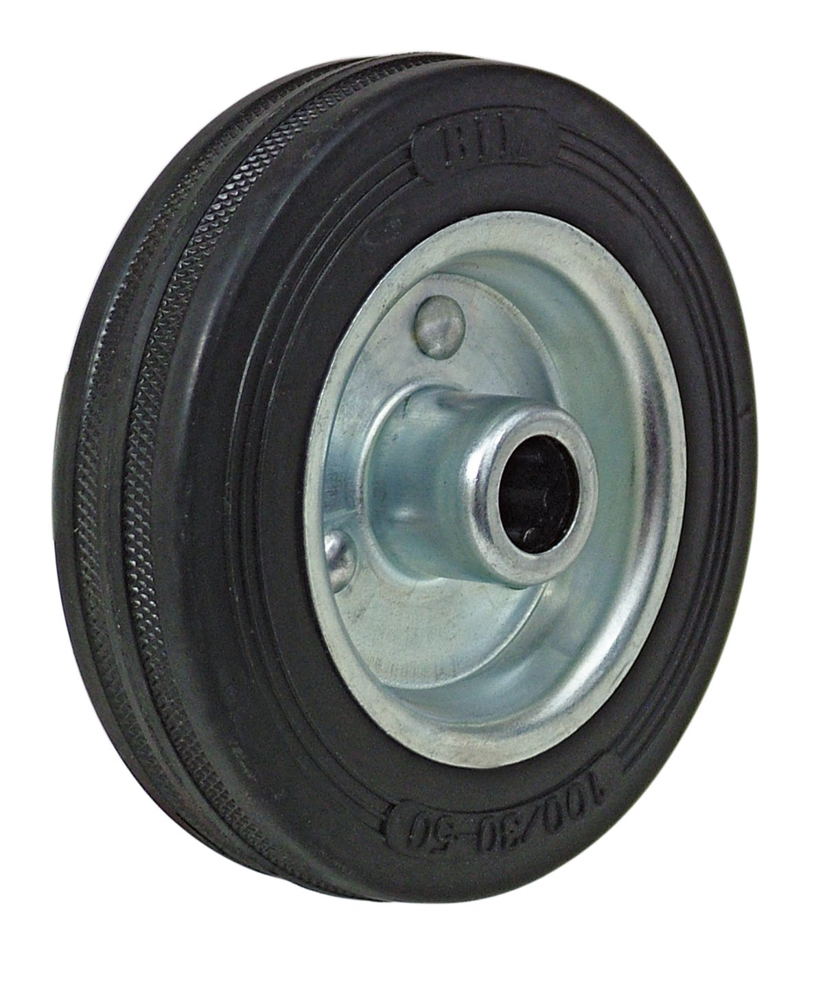 BIL BZMM125WBSRB Series WBS Wheel, Rubber On Steel, 125 mm Diameter, 37.5 mm Tread, 45 mm Hub, 15 mm Bore, 90 kg Load, Black BIL Group Ltd