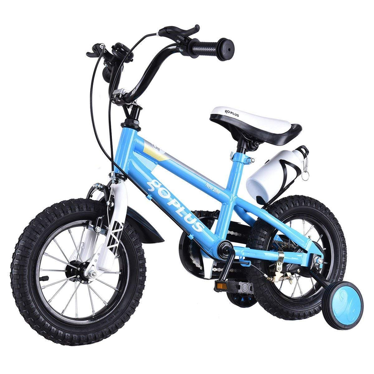 Goplus Freestyle Kids Bike Bicycle 12inch/ 16inch/ 20inch Balance Bike with Training Wheels for Boy's and Girl's (Blue, 12-inch)