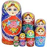 Youbedo 7pcs Blue Flower Madness Nesting Dolls Authentic Russian Wooden Matryoshka