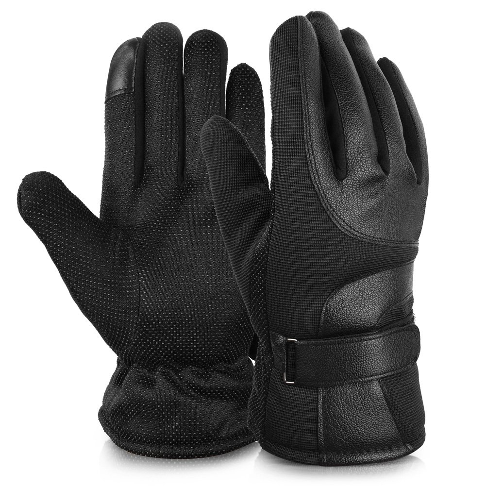 Vbiger Mens Driving Gloves Winter Warm Gloves Touchscreen Leather Gloves
