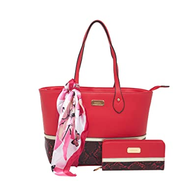 ESBEDA Red Color Python Print Combo Tote Bag With Wallet Scarf For Women