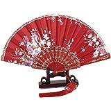 Nudo chino pendientes largos con forma de flores abanico soporte 2-in-1
