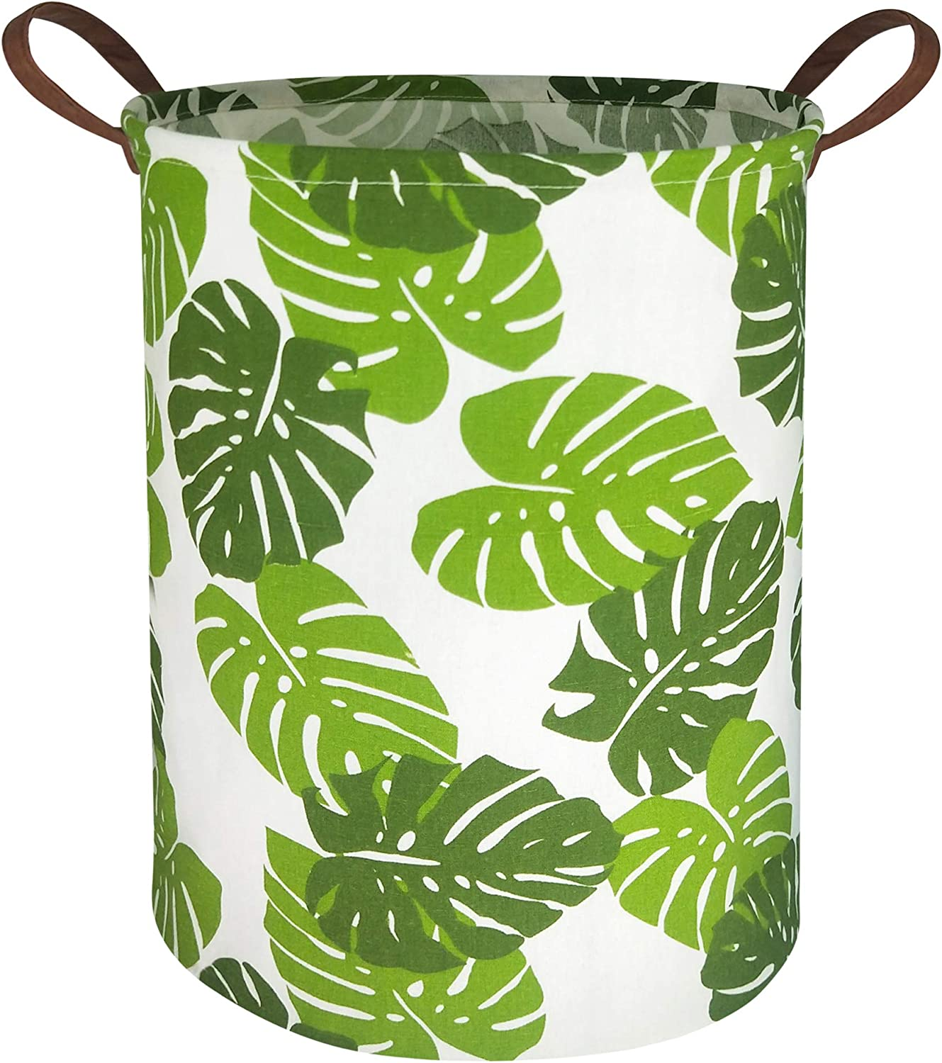 HIYAGON Laundry Baskets,Collapsible Hamper, Canvas Fabric Laundry Hamper,for Toy Organizer Bins,Gift Baskets, Bedroom, Clothes, Nursery,Kids,Boys (Green Leaf)
