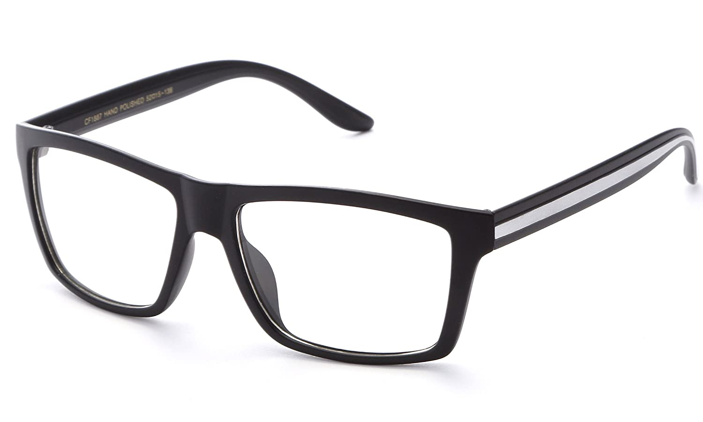IG Unisex Retro Squared Celebrity Striped Temple Clear Lens Fashion Glasses
