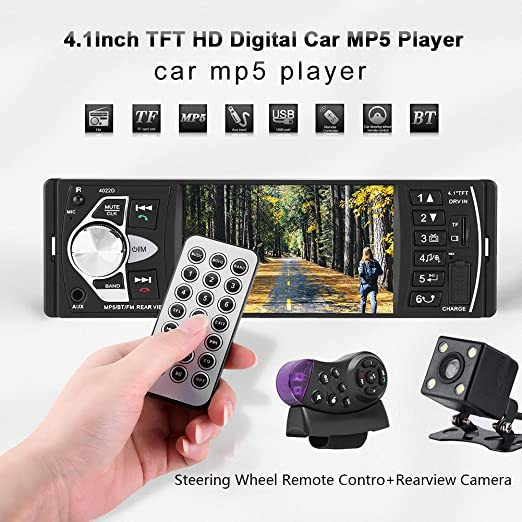 Amazon.com: 4.1 Inch TFT HD Car MP5 Player, Bluetooth Car Stereo FM Radio Playing FM Radio AUX TF USB Remote Control, 4022D (with Camera): Automotive