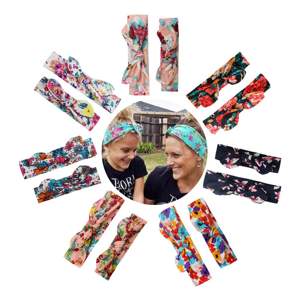 Calliar Womens And Baby Fashion Flower Bow Head Wrap Headbands Elastic Hair Band,7 Pairs-Color 1