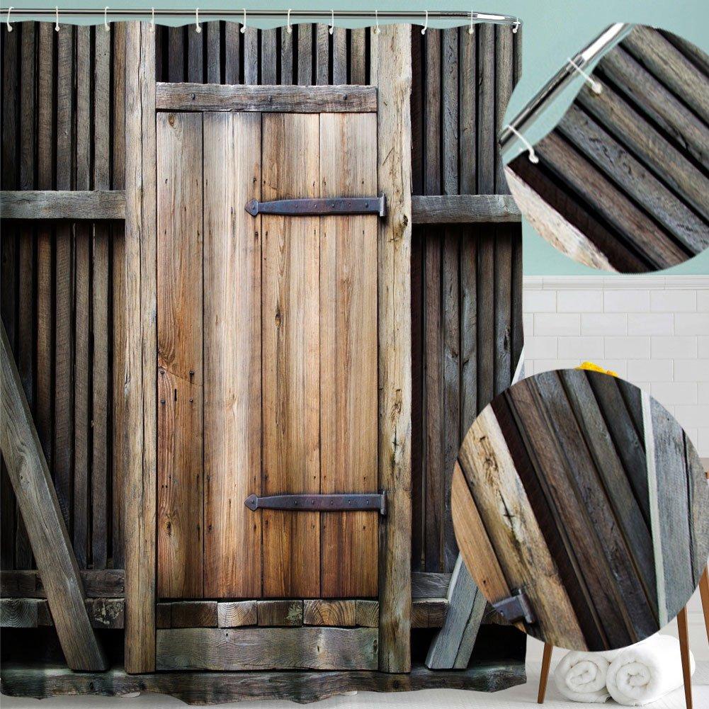 con ganci. Set doccia tende da bagno retr/ò stampato in retro modello vintage in legno resistente alla muffa impermeabile Mucha Gate180*180