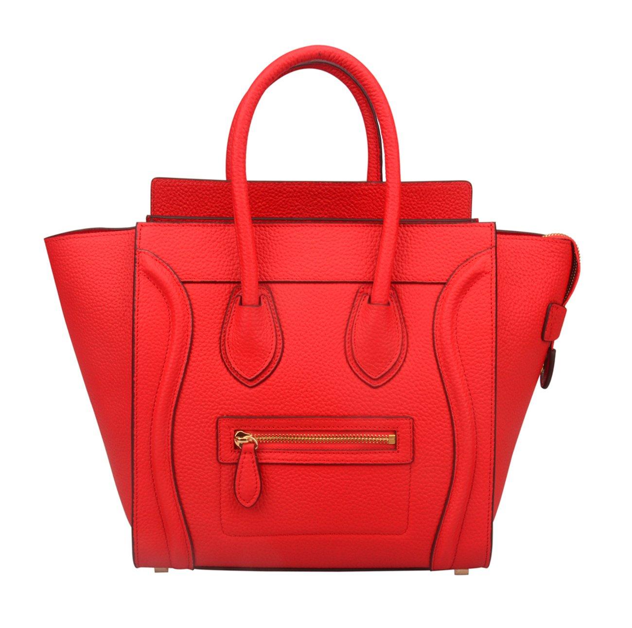 Ainifeel Women's Genuine Leather Smile Top Handle Handbag Purse (Medium, Red)