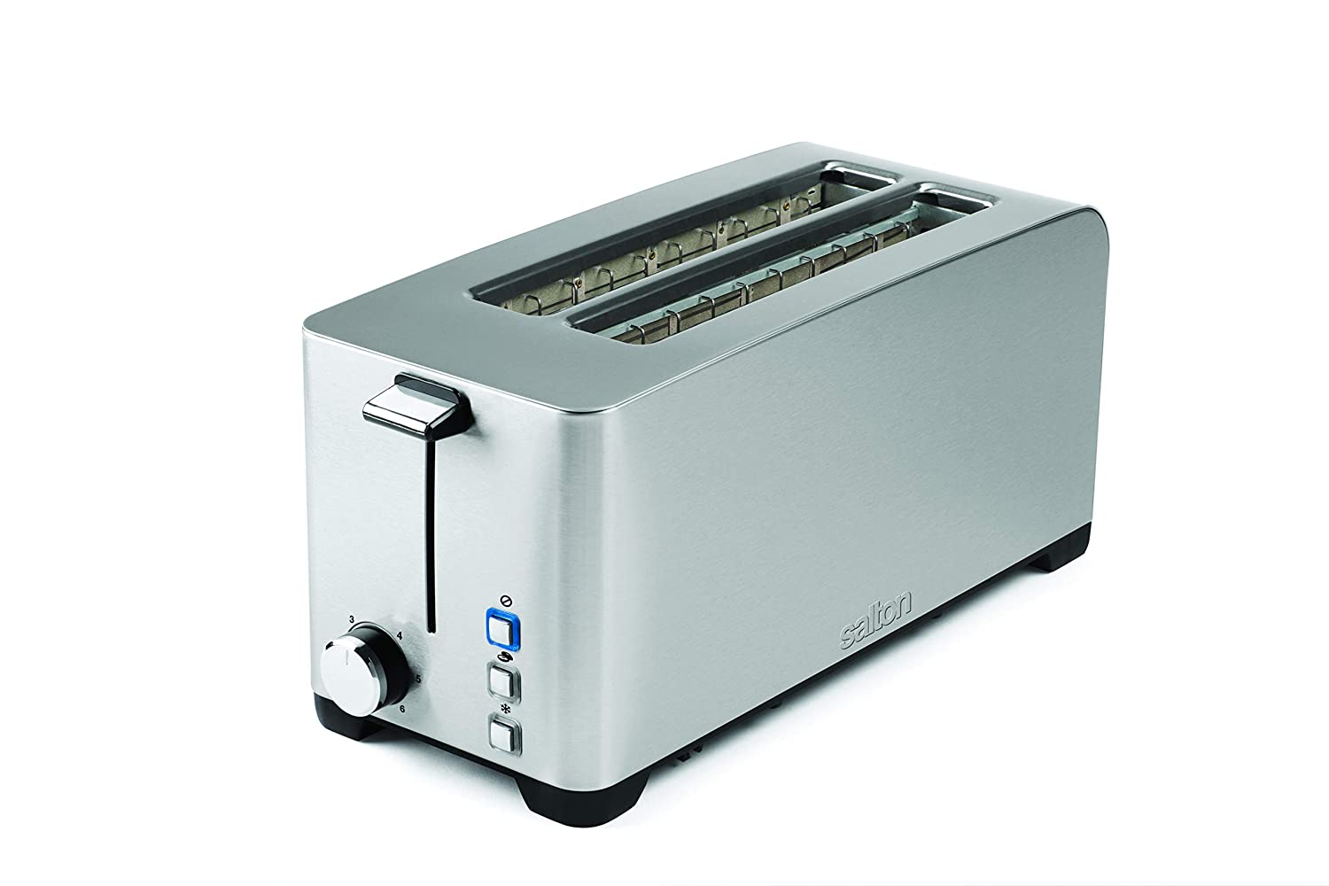 Salton ET1817 Space Saving Long Slot Electric, 4 Slice Toaster Silver