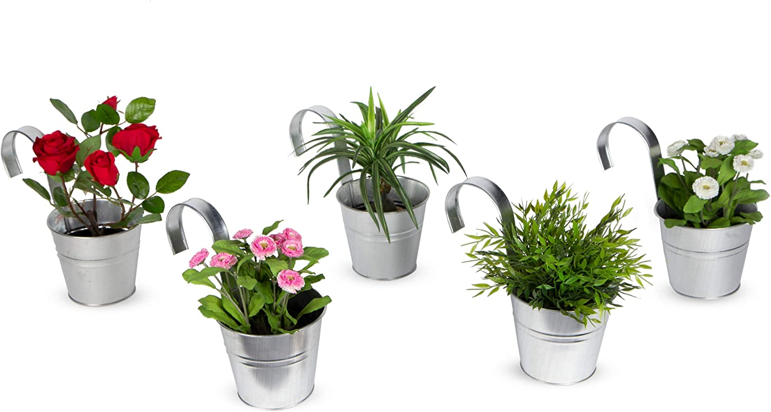 brightmaison Large Hanging Metal Basket Bucket Planters Pot Set of 5 Wall Mountable Set for Plant and Flower (Galvanized)