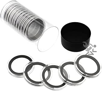 5 Pack Air-Tite Holders X38mm White Ring 1.5oz Silver Canadian Coin Capsules
