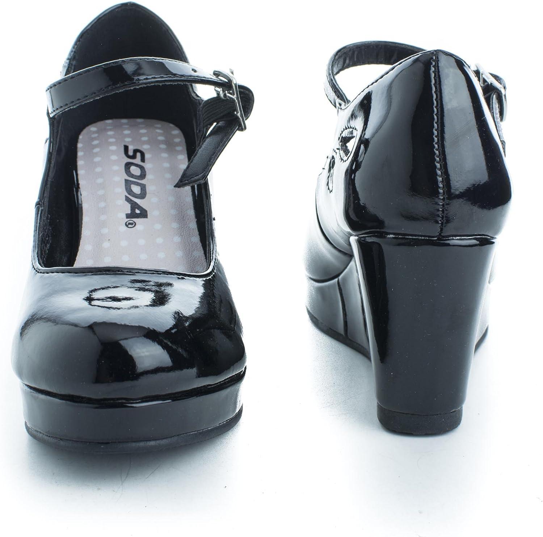 SODA Girls Closed Toe Mary Jane Platform Wedge Sandal