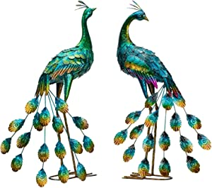 Kircust 2-Pack Peacock Garden Statue and Sculpture, Metal Peacocks Yard Art Lawn Ornament for Outdoor Backyard Porch Patio Decorations
