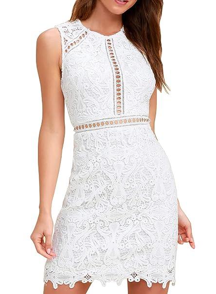 Amazon.com: HiLady vestido de cóctel de encaje floral blanco ...