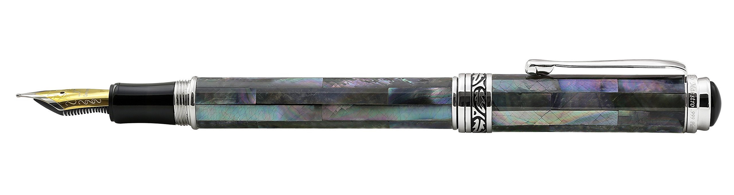 Xezo Maestro Iridescent Natural Black Mother of Pearl Platinum Plated Fine Fountain Pen. No Two Pens Alike by Xezo (Image #4)