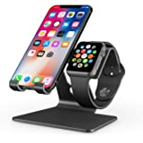 Apple Watch Stand, OMOTON 2 in 1 Universal Desktop Cell Phone Stand and Apple Watch Stand, Advanced 4mm Thickness Aluminum Stand Holder for iPhone and Apple Watch (Both 38mm & 42mm), Black