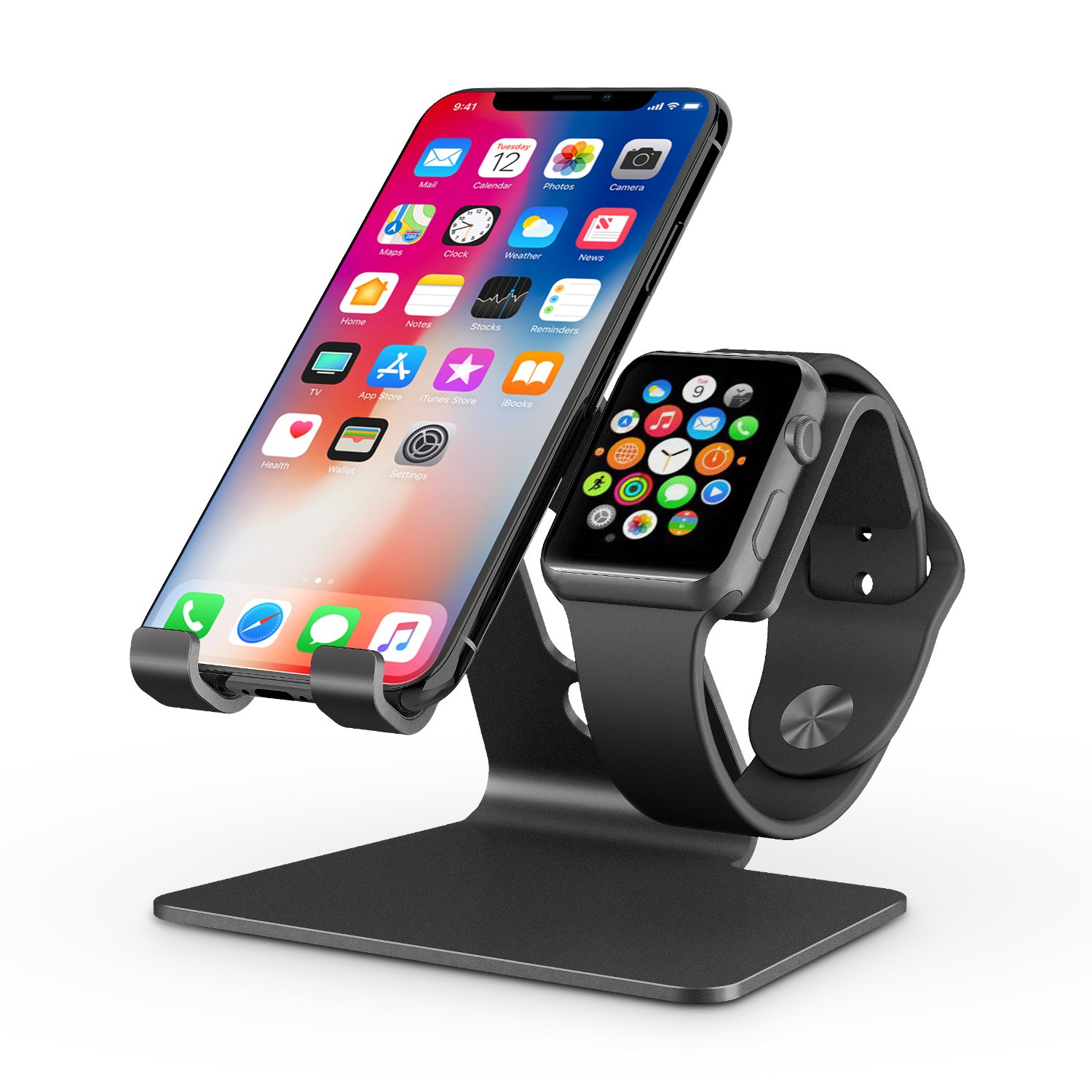 Apple Watch Stand, OMOTON 2 in 1 Universal Desktop Stand Holder for iPhone and Apple Watch (Both 38mm/40mm/42mm/44mm) (Black) by OMOTON