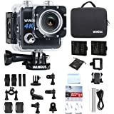 Action Cam 4K WIFI Fotocamera Subacquea Impermeabile HD 20MP Action Sport Camera 170° Grandangolare + 2 Batterie e Kit Accessori (Nero)