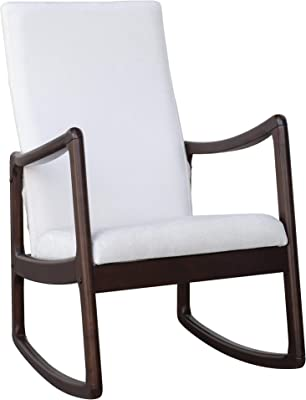 Festnight Modern Rocking Chair Living Room Chairs with Cushion-Coffee Brown/White