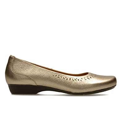 Clarks Blanche Garryn - Gold Metallic (Leather) Womens Shoes