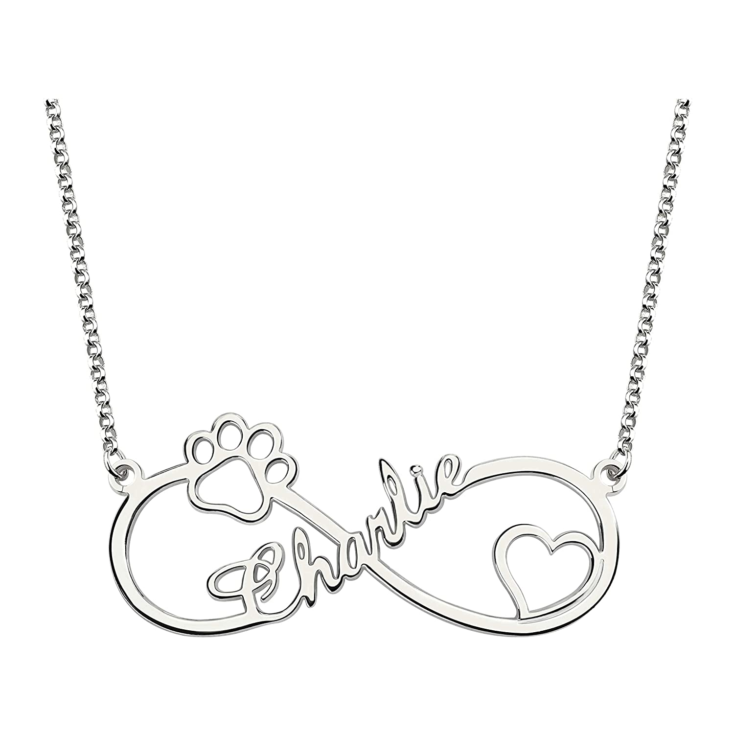 Getname Necklace Infinity Name Necklace Heart and Paw Cut Out Personalized Your Unique Gifts Jewlry