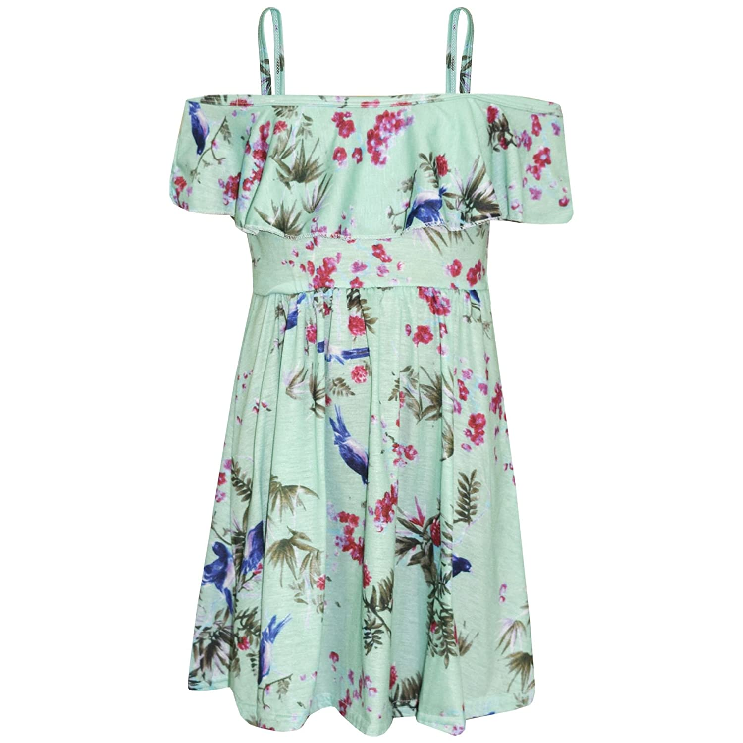 11bcde1d5885 A2Z 4 Kids® Girls Skater Dress Kids Mint Absatract Floral Print Summer  Party Fashion Off Shoulder Dresses New Age 7 8 9 10 11 12 13 Years  Amazon. co.uk  ...