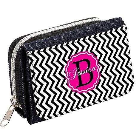 Monogram Zig Zag Chevron mg38 personalizada Mujer Denim Bolso Niñas Cartera de regalo * * Añade