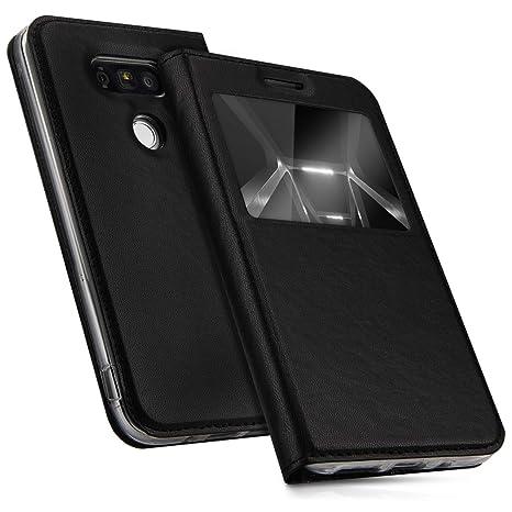 kwmobile Funda para LG G5 / G5 SE - Carcasa de [Cuero sintético] con [Ventana] - Case con Solapa [Negro]