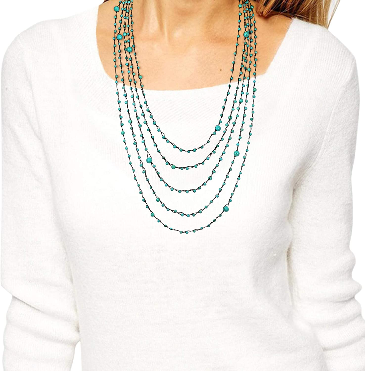 Simulated Turquoise Floating Bubbles Multi Layered Strand Necklace