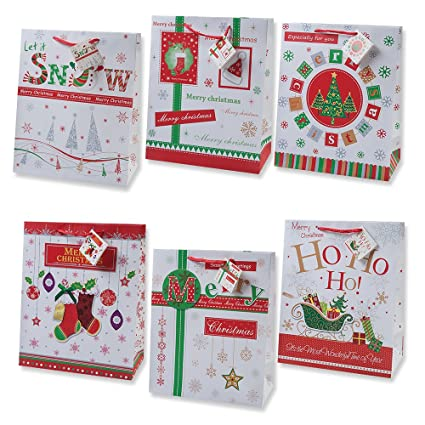 Christmas Gift Bags.12 Christmas Gift Bags Large Bulk Assortment With Handles And Tags For Wrapping Holiday Gifts