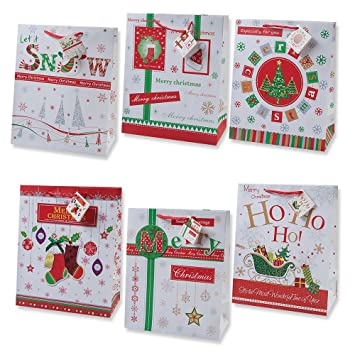 gift boutique christmas gift bags small bulk assortment with handles and tags for wrapping holiday gifts