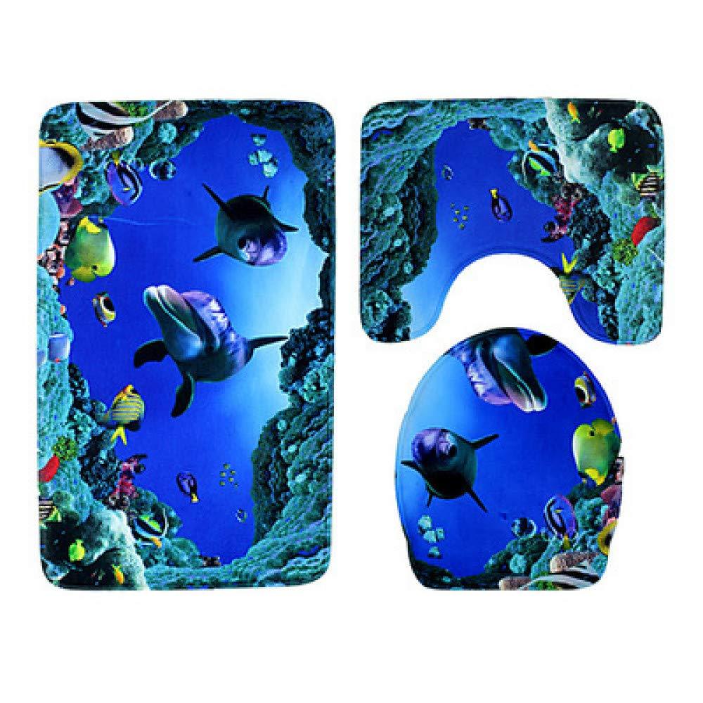 GMYANMTD 3 stücke Badematten Ozean Ozean Ozean Unterwasserwelt Anti Slip Bad Matte Set Korallen Fleece Boden Badematten Waschbar Badezimmer Wc-teppiche B07HFBGK2S Duschmatten 04242f