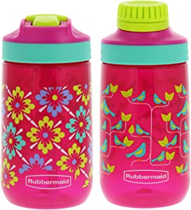 Rubbermaid Kids Water Bottle Sip, Chug - Leak-Proof Reusable Container - Help Keep Your Kids Hydrated - BPA-Free - Equipped with Protective Spout Cover - 14 Ounces, Flowers with Birds, 2 Pack