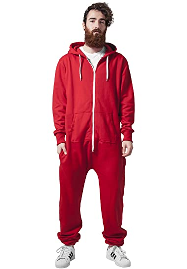1f02bae2d493 Solid Red Hooded Sweat Jumpsuit Adult Onesie Zippered Streetwear
