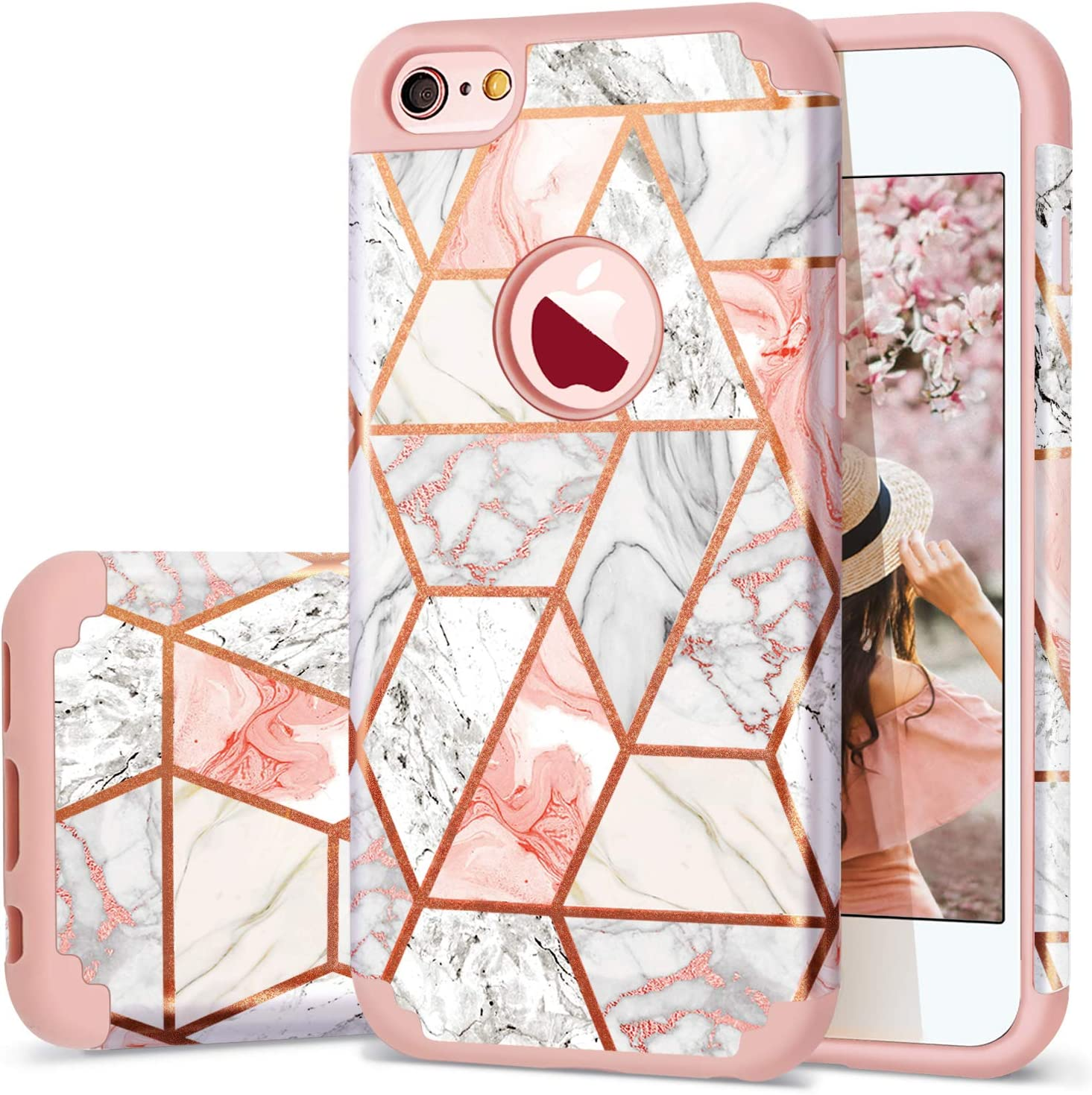 """iPhone 6s Case, iPhone 6 Case,Fingic Rose Gold Marble Design for Girls Shiny Glitter Bumper Hybrid Hard PC Soft Silicone Rubber Anti-Scratch Shockproof Protective Case Cover for Apple iPhone 6/6S 4.7"""""""